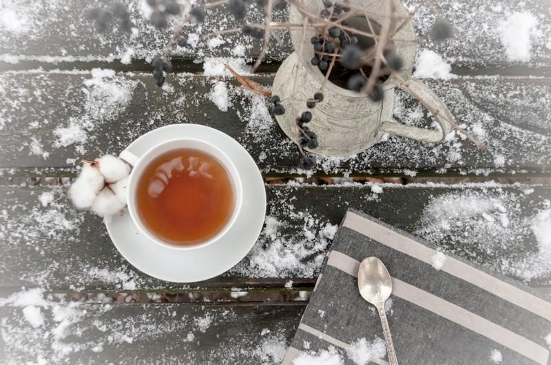 самому ближе картинка чашка чая и снег прихожие модный
