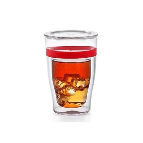Двустенный стакан Samadoyo S-081, 300 мл. с пластиковым кольцом и крышкой
